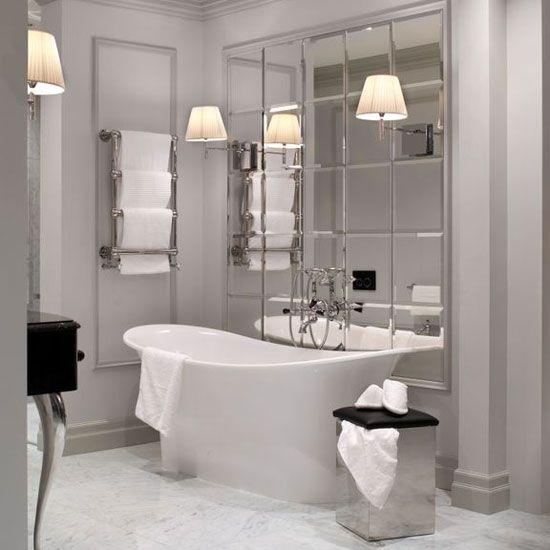 Декорирование ванной комнаты в стиле ар-деко с использованием зеркальной плитки