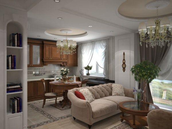 Кухня гостиная с декоративными растениями