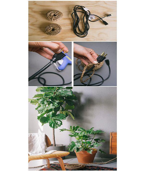 Обмотанный провод пеньковой верёвкой