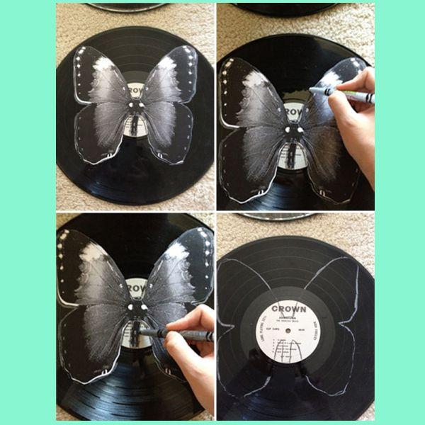 Размечаем рисунок на виниловой пластинке