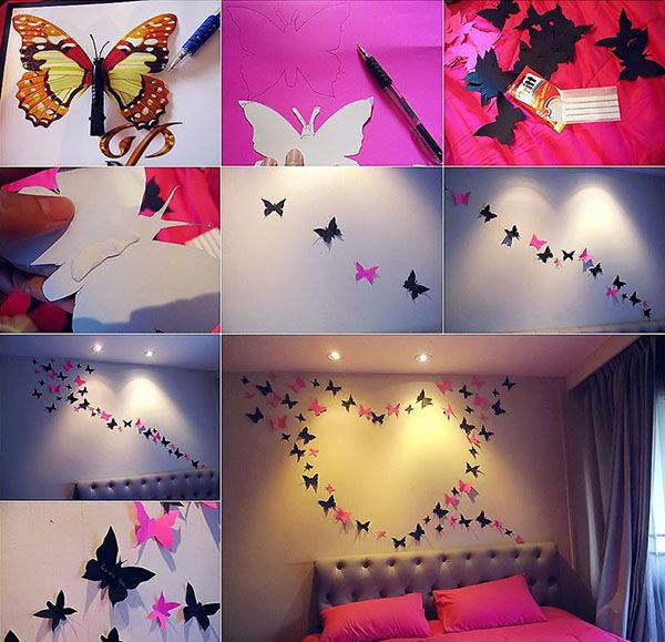 Украшение стен бабочками в виде сердца