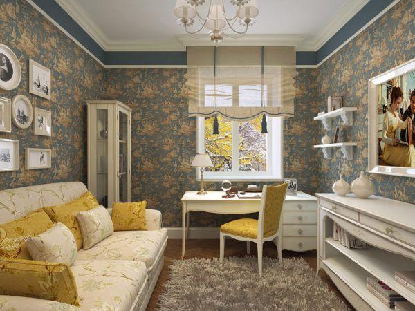 Гостинная в стиле прованс с мягкой мебелью, многочисленными подушками и грубой отделкой стен