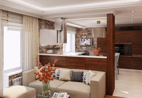 Кухня гостиная с компактной мебелью из влагостойких материалов