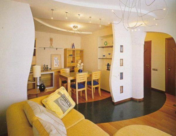 Кухня гостиная с плавно-линейным дизайном