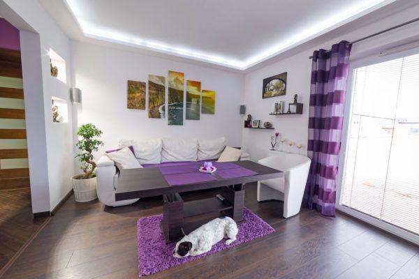 Пример готового интерьера с фиолетовым цветом