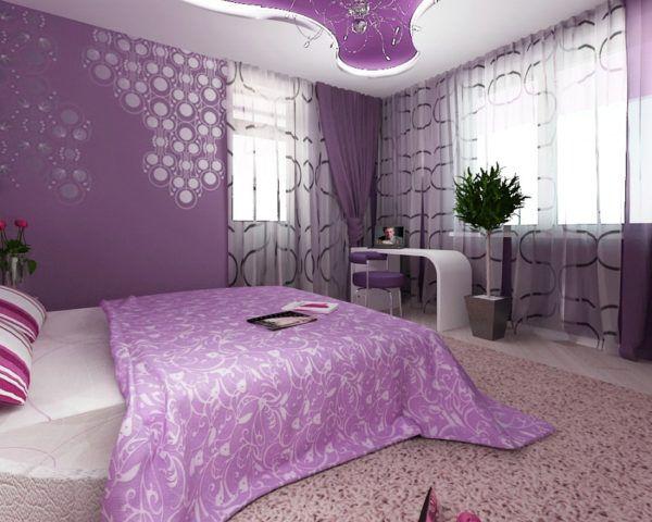 Пример дизайна помещения, когда от фиолетового ковра лучше отказаться