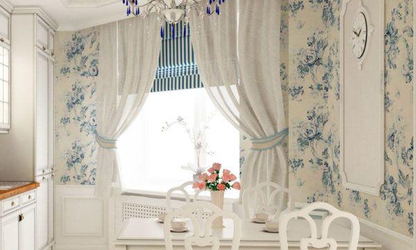 Средняя длина и расцветка занавесок в обеденной комнате