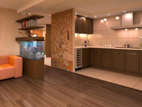 Кухонная зона с плиткой, а гостинная с ламинатным покрытием полов