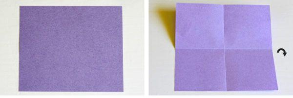 Делаем квадрат из фиолетовой бумаги