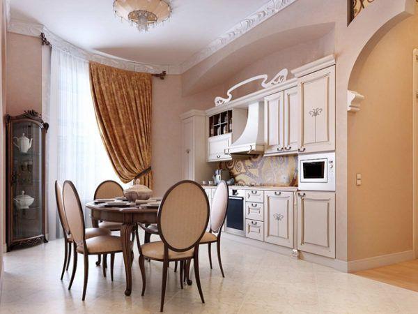 Изящные классические шторы и тюль для кухни