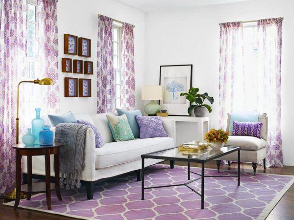Фиолетовый ковер и шторы в интерьере