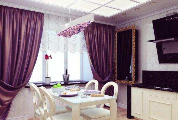 Проект кухни в пурпурных тонах