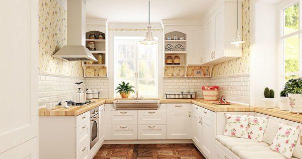 Светлая кухня с деревянными кухонными гарнитурами и расставленной посудой