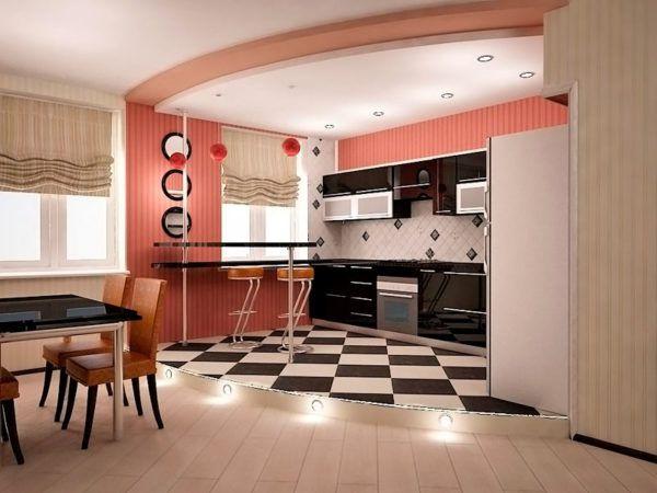 Паркетно-ламинатное покрытие кухни гостиной