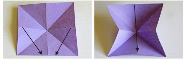 Слаживаем листок по диагонали, чтобы на нем появились еще четыре линии