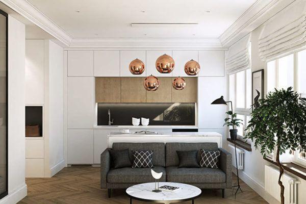 Диванная мебель в кухонной зоне