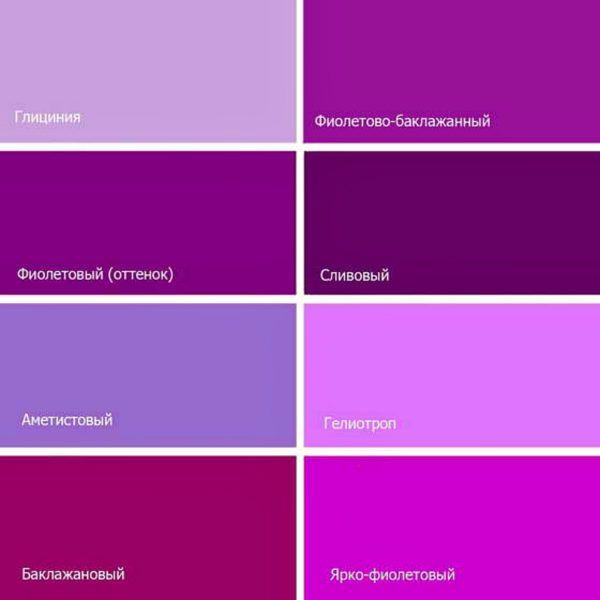 Названия оттенков фиолетового цвета