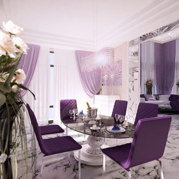 Дизайн-проект большой столовой в фиолетовых тонах