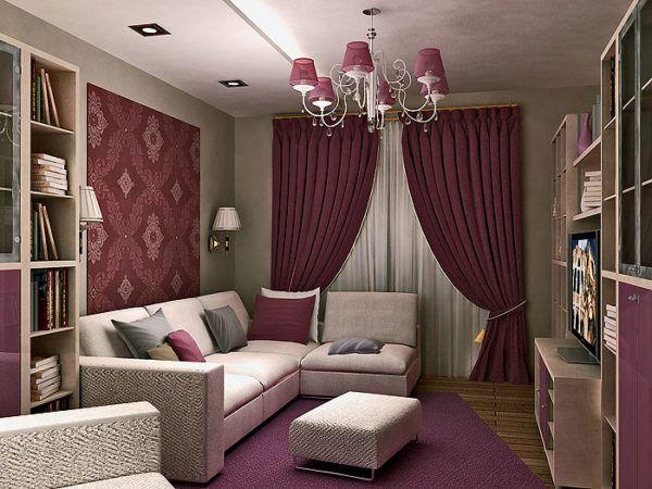 Дизайн-проект уютной гостиной в баклажанных тонах