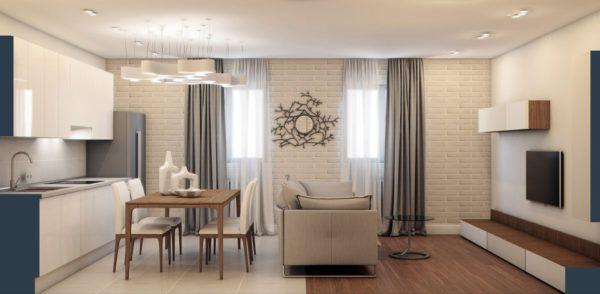 Разграничения пространства при помощи мебели