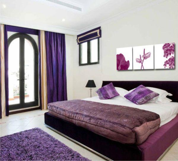 Идеальное сочетание в спальне фиолетовых оттенков
