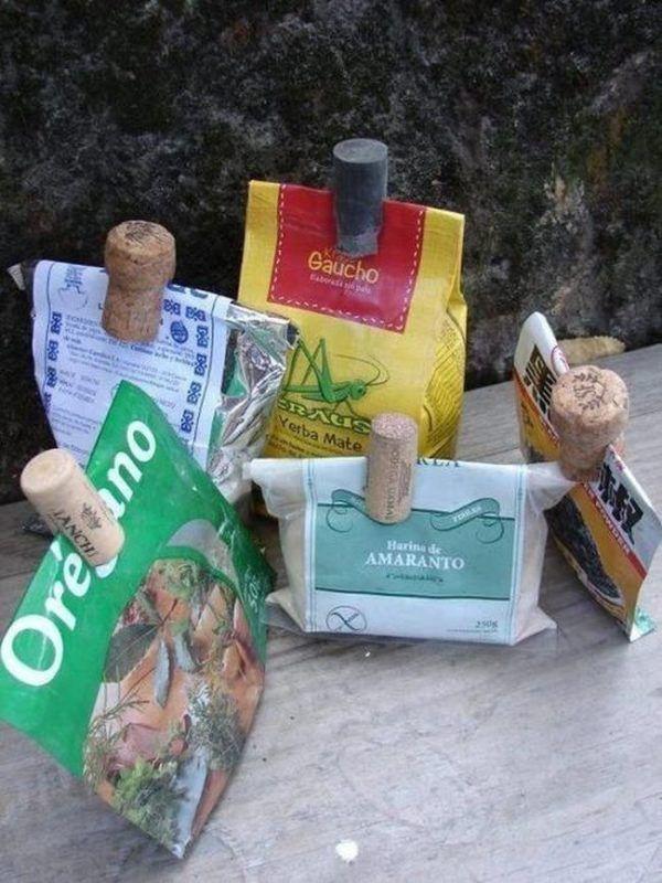 Крышки с под вин в виде закрывательных элементов для пакетов