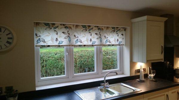 Рулонные шторы цельные на три секции окна