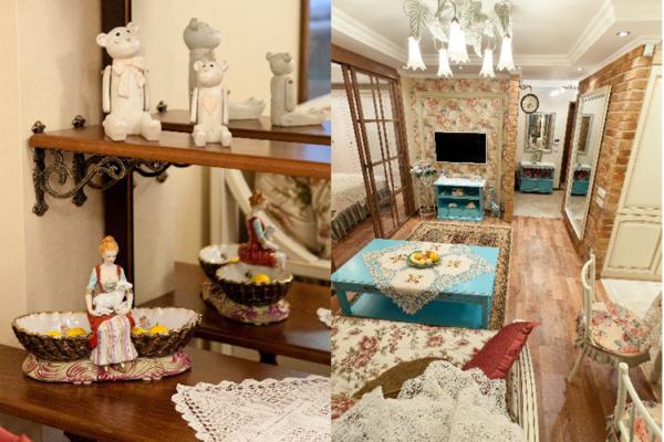 Декоративные элементы дополняющие интерьер в виде статуэток, ваз и старинной посуды