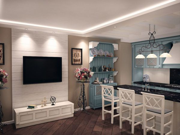Присутствующие элементы кованных подставок в стиле прованс на кухне гостиной