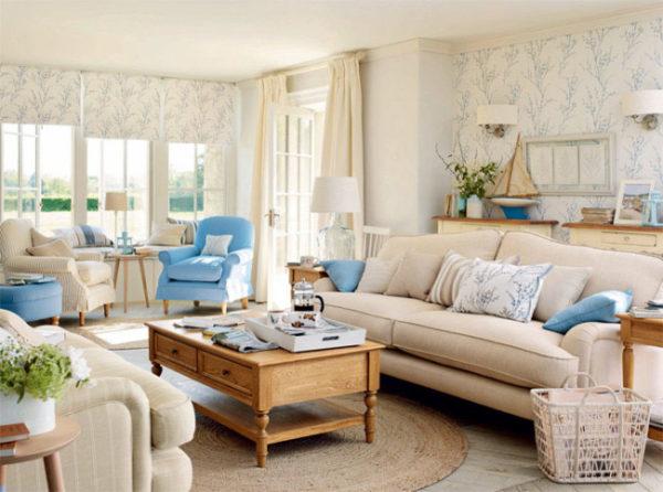 Американский стиль с простой мебелью в центре комнаты
