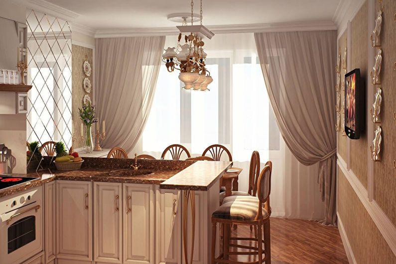 Бежевые шторы прованс в тон мебели и обоям