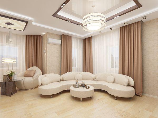 Бежевый цвет в интерьере просторной гостиной