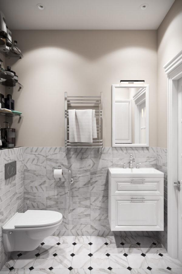 Ванная комната с кафелем на полу и плиткой на стенах