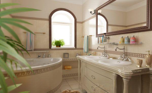 Ванная с применение деревянных элементов в интерьере