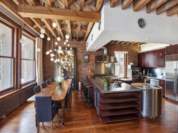 Вариант правильно подобранного освещения для кухни, когда зонированный свет в помещении отдельно освещает рабочую и обеденную зону