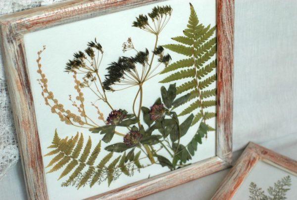 В композициях могут использоваться непосредственно засушенные цветы, листья, ветки