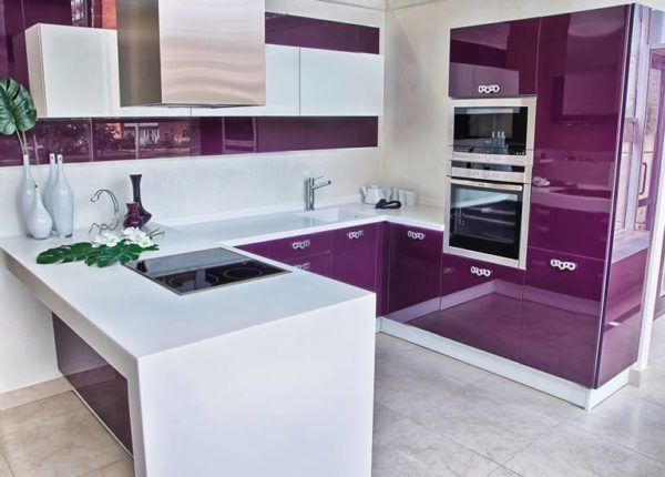 Гармоничное сочетание белого и фиолетового цвета в кухне