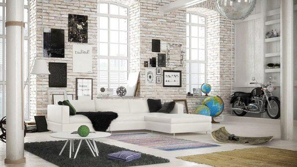 Гармоничное сочетание белого и черного в интерьере комнаты стиля лофт