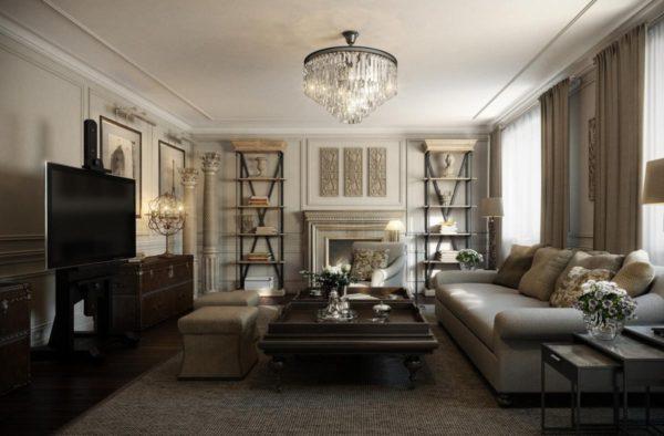 Громоздкие диваны с тканевыми чехлами, удобные кресла, пуфики, стеллажи, шкафы, комоды