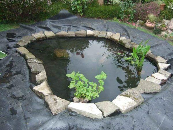 Декорированный камень вокруг пруда