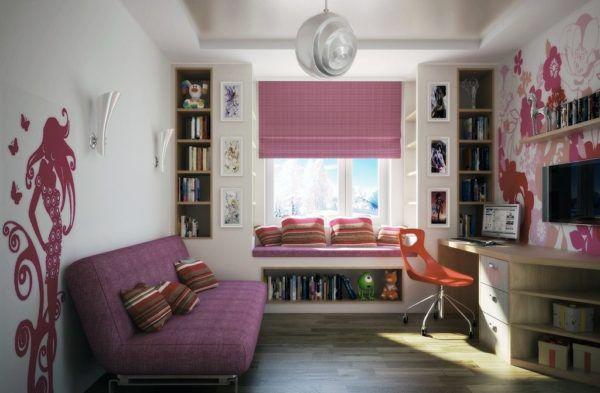 Детская комната для девочки-подростка в розовом и фиолетовом цвете