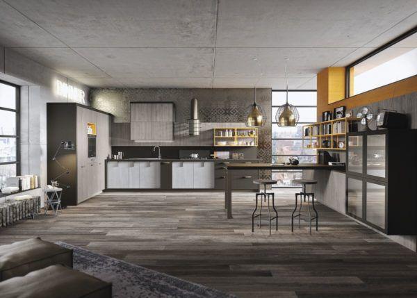 Дизайн кухни-гостиной в стиле лофт