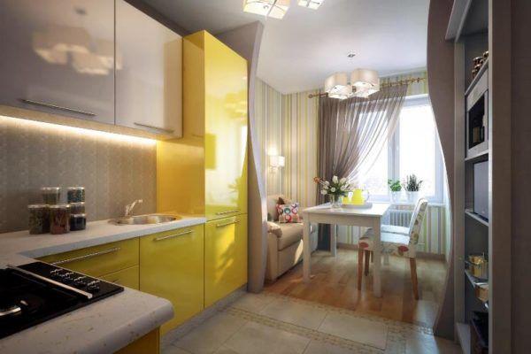 Дизайн небольшой кухни-гостиной