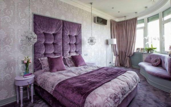 Дизайн сиреневой спальни