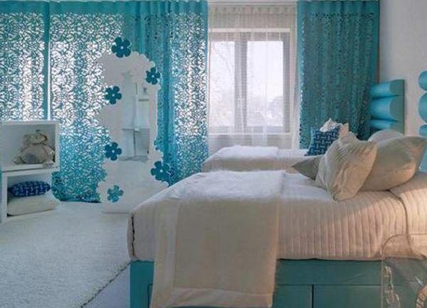 Дизайн спальни в бирюзовом цвете