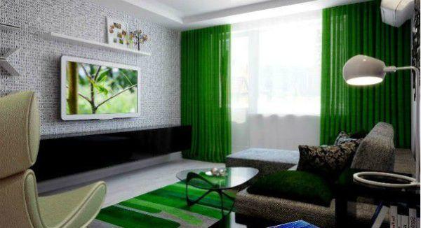 Зеленые шторы в интерьере