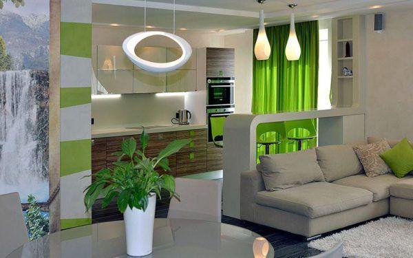 Зеленый в интерьере гостиной
