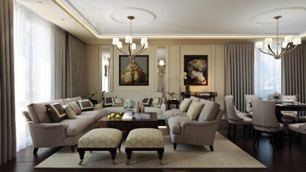 Интерьер комнаты в стиле Арт-деко