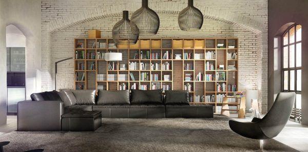 Интерьер комнаты в стиле Лофт с применением больших светильников для освещения просторной комнаты