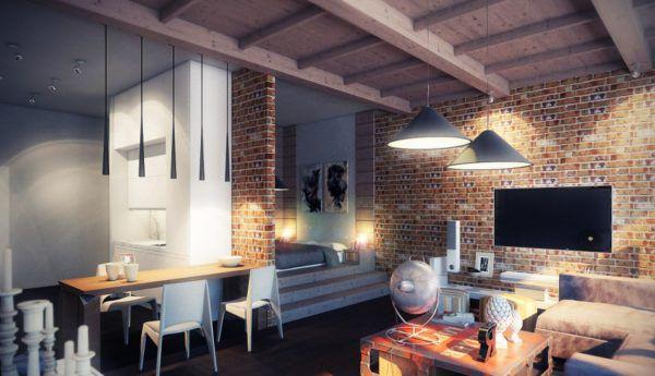 Интерьер комнаты в стиле Лофт с применением разных типов светильников Лофт для зонирования освещения